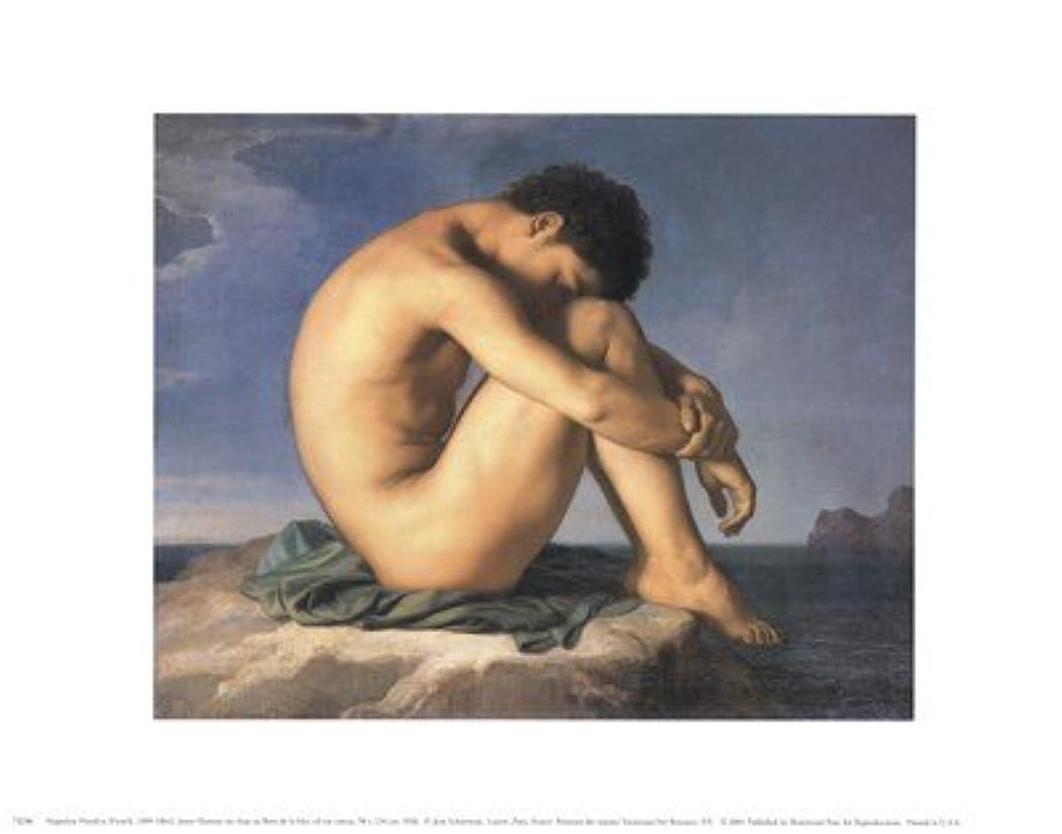トンネル泣いている生物学Jeune Homme nu Assis Au Boro de la Mer by Hippolyte Flandrin – 14 x 11インチ – アートプリントポスター LE_58691