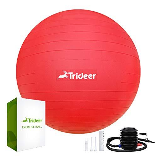 Trideer バランスボール 55 65 75 cm (レッド, 55 cm)