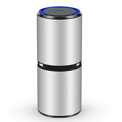 車載空気清浄機 SonRu 空気清浄機 車用 消臭 イオン発生機 エアクリーナー くうきせじょうき 脱臭除菌 タバコ/花粉/アレル物質/PM2.5対策 USBケーブル付き 静音 カップホルダータイプ 車内 部屋キッチン トイレ 利用可能 銀色