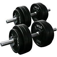 [WILD FIT ワイルドフィット] ダンベルセット 黒ラバー30kg
