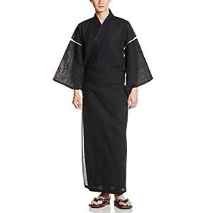 (カブク) KABUKU メンズ浴衣4点セット(浴衣、帯、下駄、巾着) 亀甲繋ぎ柄 KBK-1007 Black Purple Mサイズ M