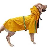 犬のレインコート 水防止レーンコート 雨具 マントのデザイン 帽子付き 反射テープ付き リード穴付き バックポケット 折りたため 梅雨対策 調整可能 着脱簡単 size XL (イエロー)