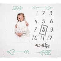 Clara's Keep Baby マイルストーン ブランケット マンスリー写真用モスリンブランケット ベビー 女の子 ベビー 男の子 性別 ニュートラル ボーナス付き グレー フレーム付き