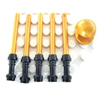 LEGO Star Wars – 5 xライトセーバーパールゴールド、5ブラックHilts + 1パールゴールドヘルメット – 11 Loose Parts