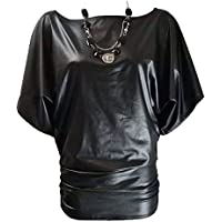 Islander Fashions Womens Wet Look Batwing Necklace Top Ladies Stretchy Short Sleeve Baggy Top S/M, M/L