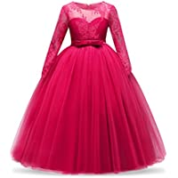NNJXD Girl Long Sleeve Satin Lace Kids Wedding Dress With Bow