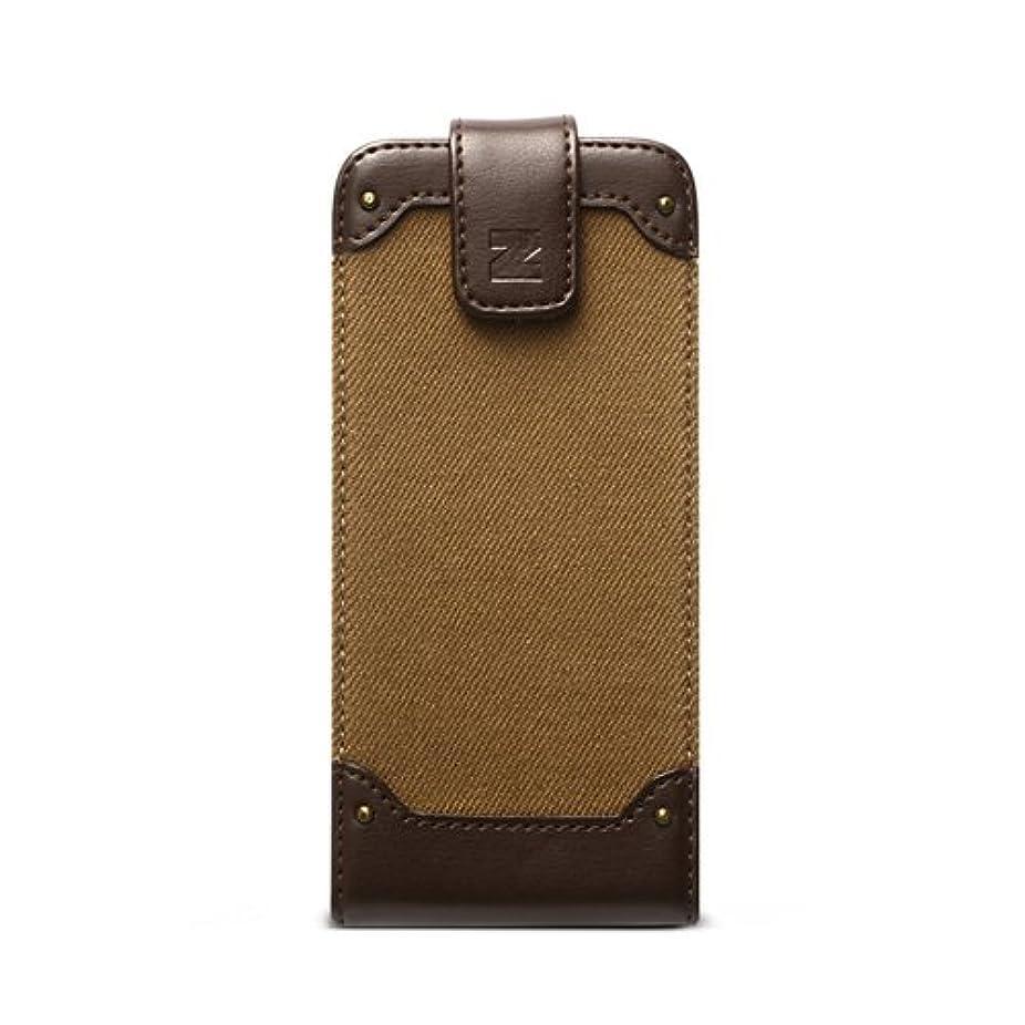 曲線化学望遠鏡【日本正規代理店品】ZENUS iPhone SE/5s/5 4インチ ケース Rock Vintage Folder ダークベージュ フォルダータイプ Z2488i5S