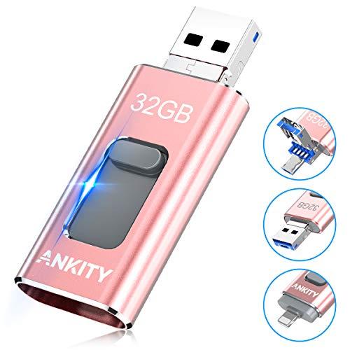 ANKITY 3in1 フラッシュドライブ USBメモリ 32GB スライド式 ロースゴールド