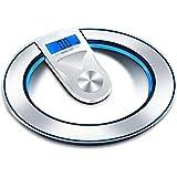 ミニ家庭用体重計健康スケール正確な大人の液晶冷光直径33センチメートル(ブラック/シルバー)の重量を量るHJBH強化ガラス電子スケールMTB - 303減量 (色 : シルバー しるば゜)