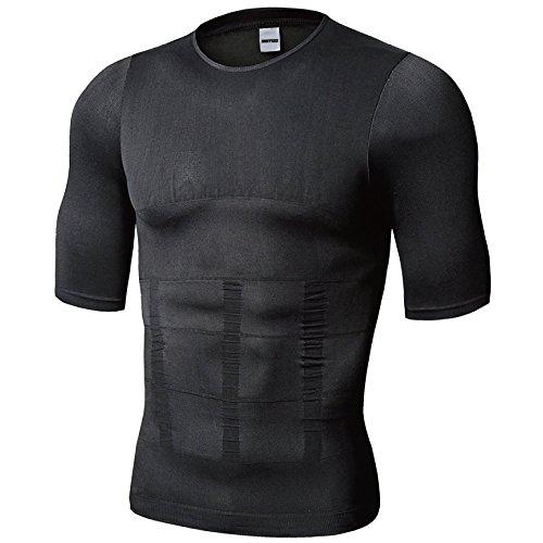 NOSTEEZ 加圧インナー 加圧シャツ コンプレッションウェア 補正下着 ダイエット 半袖 (XL, 黒)