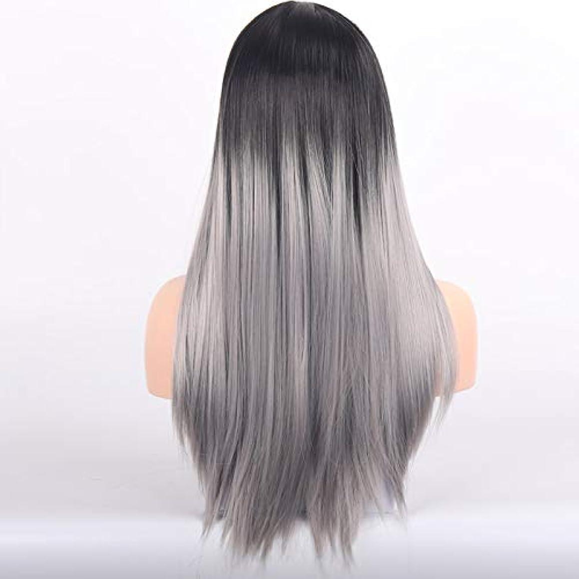 難破船それによって動力学美しく LISI HAIRブロンドロングストレートウィッグと前髪の人工毛かつらバタンとウィッグのために女性ブラックブラウン耐熱ウィッグ26インチ (Color : 1B/30HL, Stretched Length : 26inches)