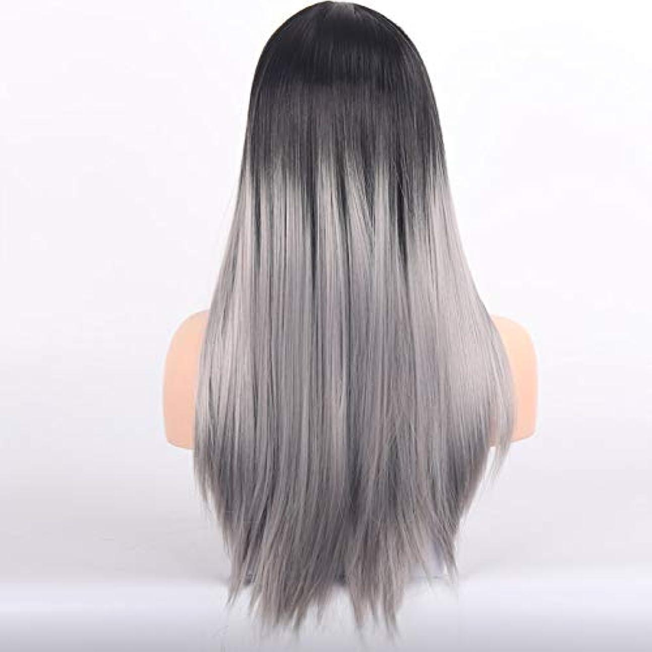 圧縮された序文伝染病美しく LISI HAIRブロンドロングストレートウィッグと前髪の人工毛かつらバタンとウィッグのために女性ブラックブラウン耐熱ウィッグ26インチ (Color : 1B/30HL, Stretched Length : 26inches)