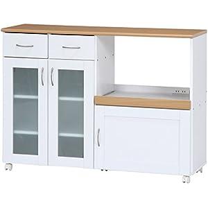 不二貿易 キッチンカウンター サージュ 幅120cm ホワイト ナチュラル 96820