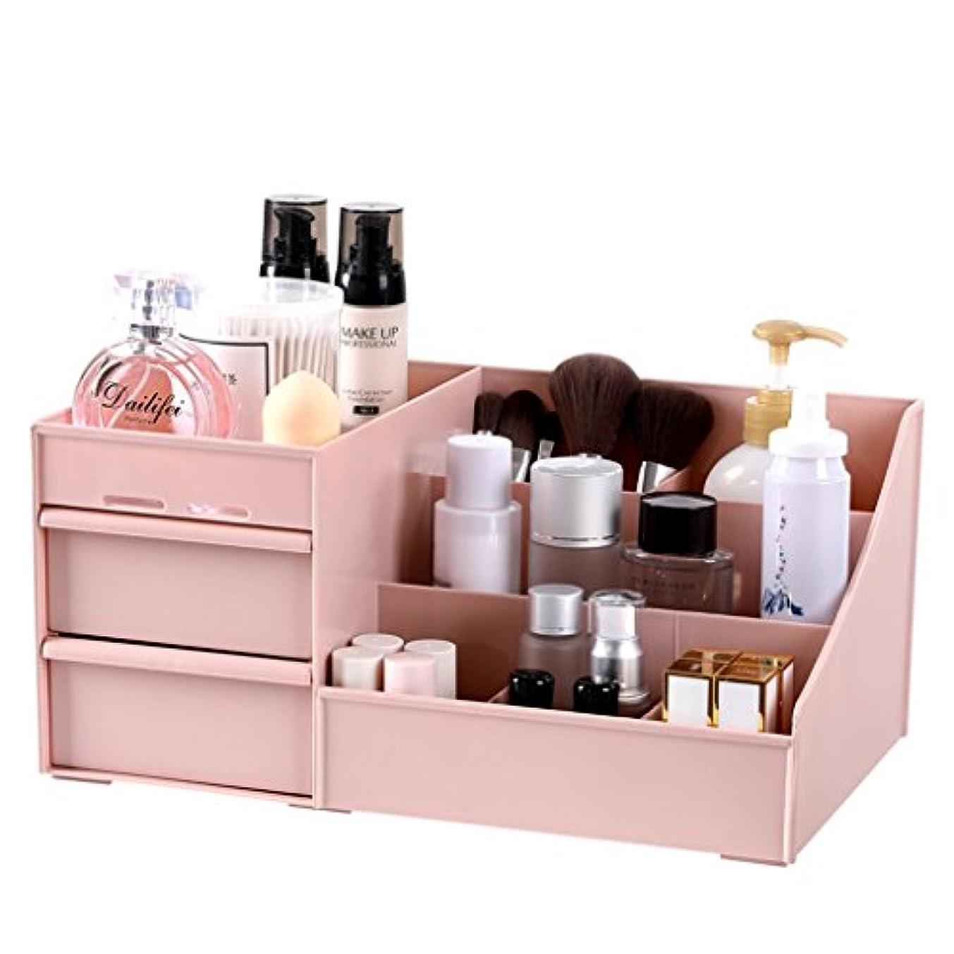 動く利用可能防水メイクボックス 化粧品オーガナイザーアクリル化粧品ディスプレイ口紅収納ラック引き出しジュエリー収納ボックス (Color : Pink, Size : 29*17.5*13.5cm)