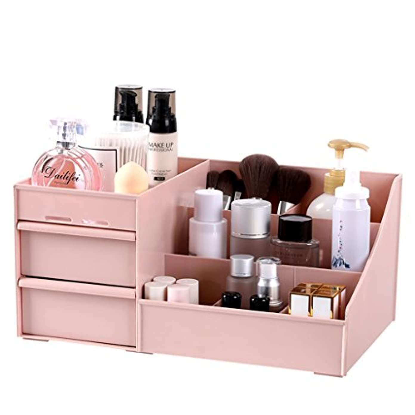 秀でるスリラージャンピングジャックメイクボックス 化粧品オーガナイザーアクリル化粧品ディスプレイ口紅収納ラック引き出しジュエリー収納ボックス (Color : Pink, Size : 29*17.5*13.5cm)