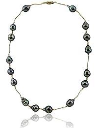 14 Kイエローゴールドタヒチ養殖真珠ネックレス22インチ