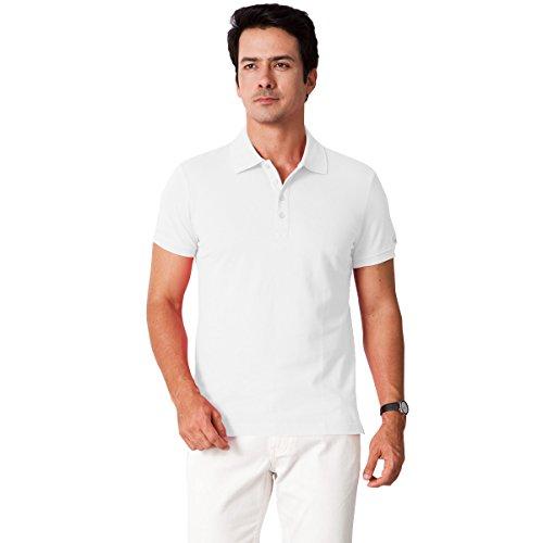 GRAT.UNIC ポロシャツ メンズ ボタンダウン 無地 半袖 100%綿 ゴルフ用シャツ ホワイト 3L