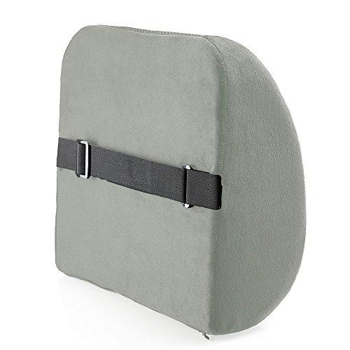 MOEEZE 低反発ランバーサポート 健康クッション 腰枕 背もたれ 猫背 骨盤矯正 腰痛対策 車内 椅子 オフィス用 (グレー)