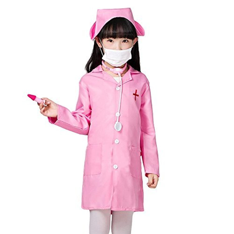 ShanTrip キッズ ナース服 & 帽子 セット 子供用 白衣 看護婦 コスプレ