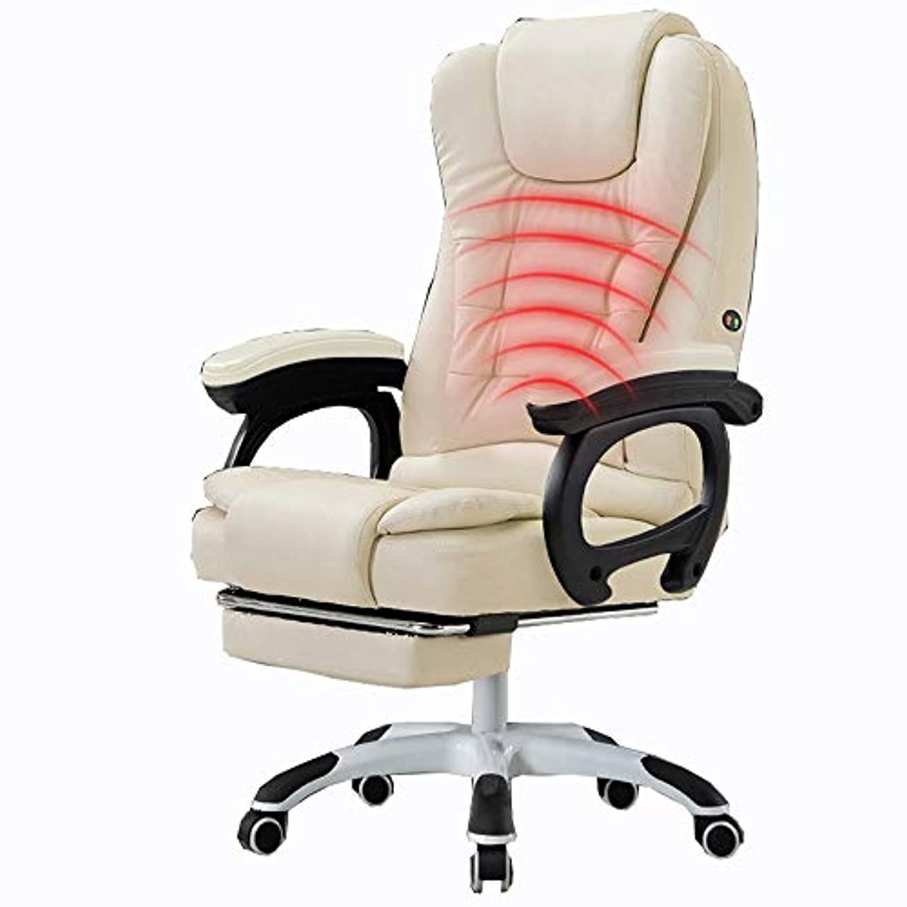 LJFYXZ 社長椅子 約160度リクライニング フットレスト 高さ昇降 肉厚クッション ウエストマッサージ レザー ビジネス デスクチェア ベアリング重量150kg (Color : Beige)