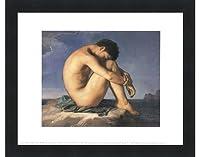 Jeune Homme nu Assis Au Boro de la Mer by Hippolyte Flandrin–14x 11インチ–アートプリントポスター LE_58691-F101-14x11