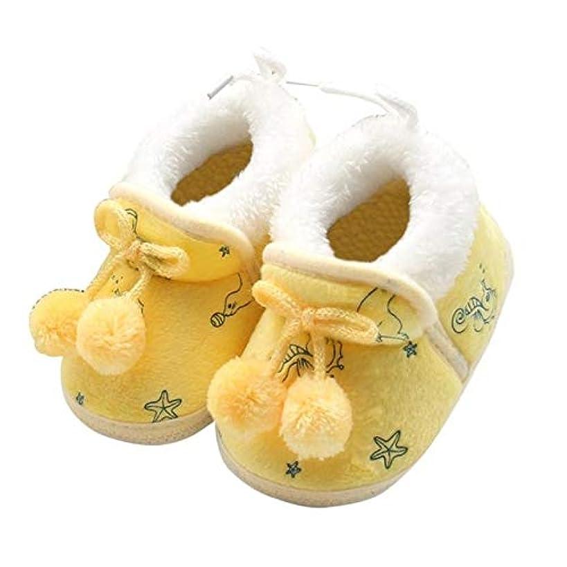 宣伝バルブさせるベビー家具 冬の甘い生まれたばかりの赤ちゃんの女の子プリンセス冬のブーツ最初のウォーカーソフトソール幼児幼児の女の子の靴 ベビー用品 (色 : 黄)