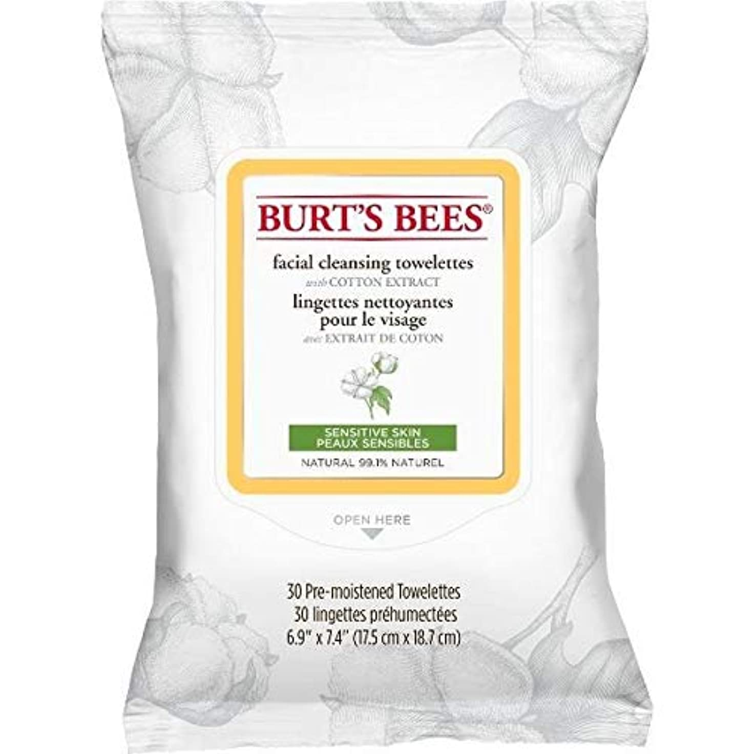 スーツしなやかきらめき[Burt's Bees ] バーツビー敏感な顔の浄化用ペーパータオルエキスX30 - Burt's Bees Sensitive Facial Cleanse Towelettes Extract x30 [並行輸入品]