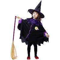 Karchi  幼児 ハロウィーン 男の子 女の子  キッズ ベイビー ガールズ ハロウィーン 衣装 コスチュームドレス パーティー クローク+帽子 服 (130, 黒)