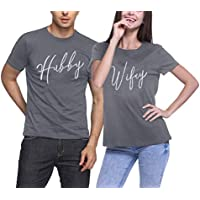 MK Shop Limited Hubby and Wifey Matching Couples T-Shirts Honeymoon Valentines Day Tees Top