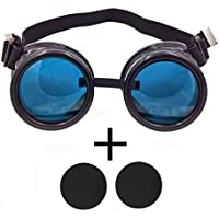 T&B New Colored Diamond Lens Vintage Steampunk Goggles Glasses Welding Cyber Punk Black With Blue Rechangeable Lens