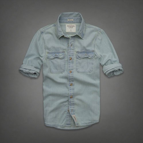 アバクロ Abercrombie&Fitch 正規品 メンズ デニムシャツ Denim Shirt Light Wash BLUE 並行輸入 (コード:4055890207)