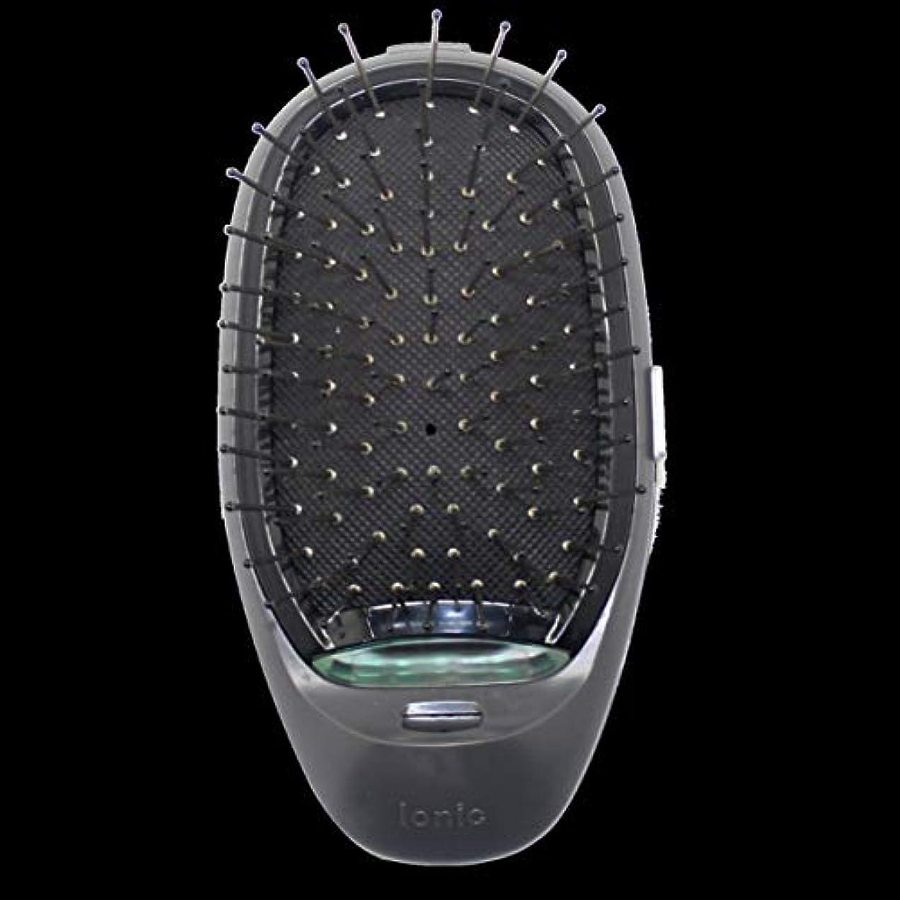 禁止する買い手スライム電動マッサージヘアブラシミニマイナスイオンヘアコム3Dインフレータブルコーム帯電防止ガールズヘアブラシ電池式 - ブラック