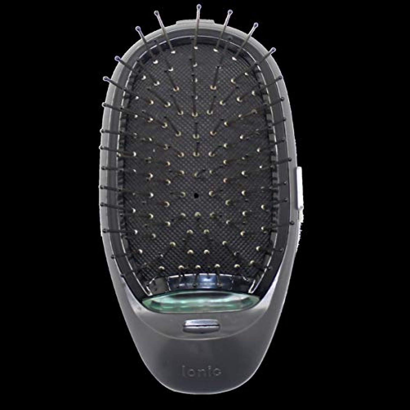 確保するやけどエアコン電動マッサージヘアブラシミニマイナスイオンヘアコム3Dインフレータブルコーム帯電防止ガールズヘアブラシ電池式 - ブラック
