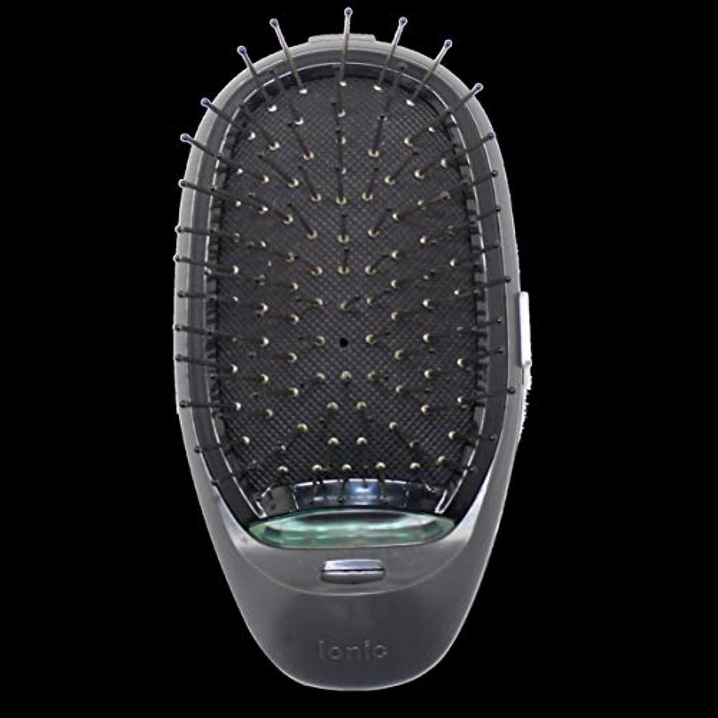 深くエレベーター振動する電動マッサージヘアブラシミニマイナスイオンヘアコム3Dインフレータブルコーム帯電防止ガールズヘアブラシ電池式 - ブラック