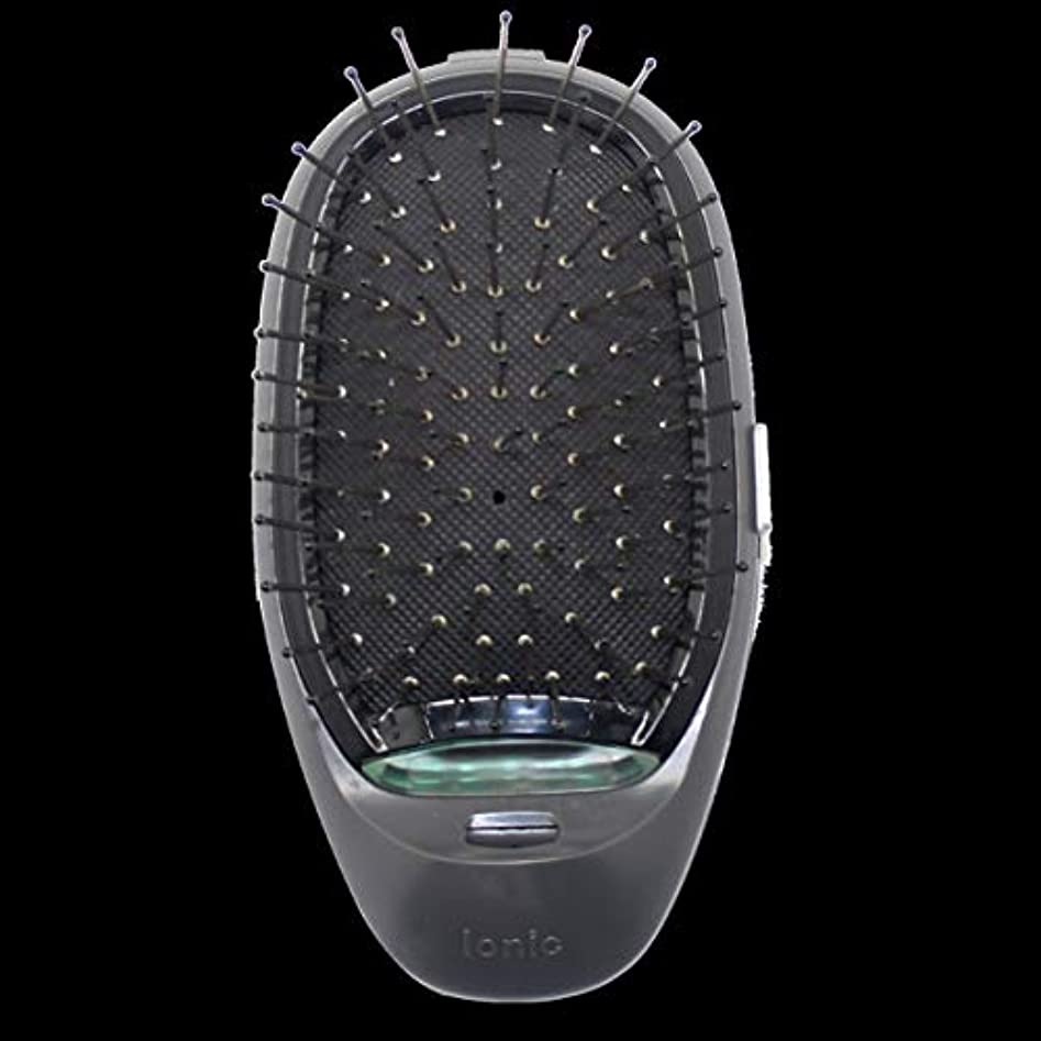 セクタサーキットに行くほこり電動マッサージヘアブラシミニマイナスイオンヘアコム3Dインフレータブルコーム帯電防止ガールズヘアブラシ電池式 - ブラック