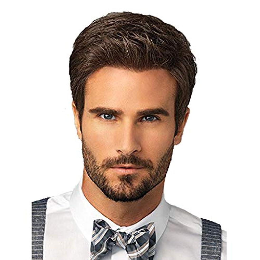 ロータリーコンチネンタル熟達男性用ウィッグ、ファッションナチュラルブラウンビジネスハンサムショートヘアナチュラルリアルな高品質かつら