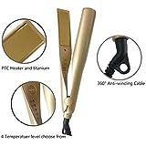 ヘアカーラー、2つのヘアストレートとヘアカーラー、多機能電動スプリントそれはすべての長さの髪に適しています,Gold,EP