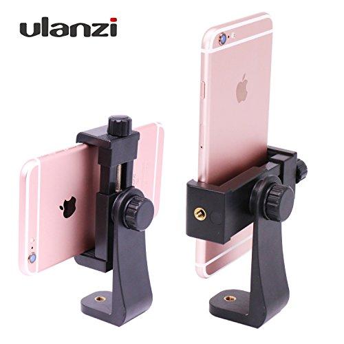 Ulanzi スマートフォンホルダー iPhone用三脚スタンド 三脚・一脚用ネジアダプター 360度回転可能 自撮り棒用 スタンドクリップ デスクトップ 電話クリップ