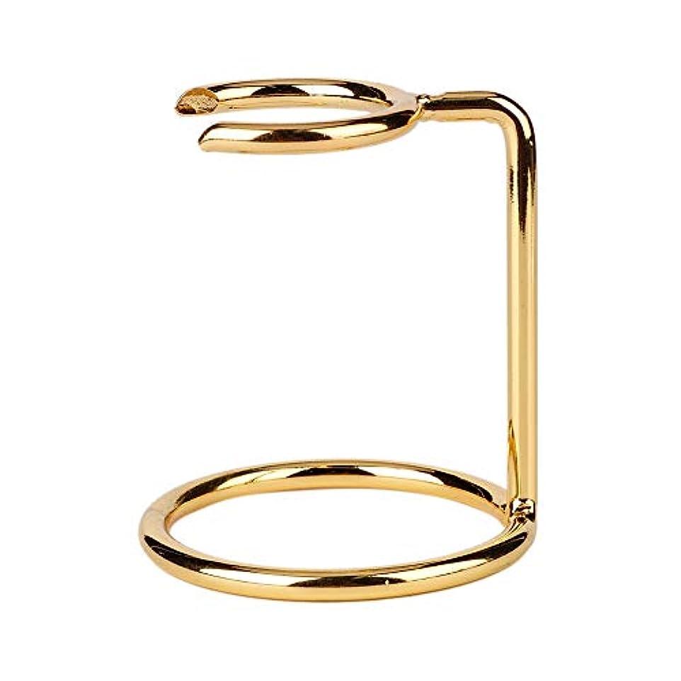 ペイント精度規模サロンホームトラベル用シェービングブラシ、男性用かみそり、ブラシスタンドホルダー用ステンレススタンド(ゴールド)