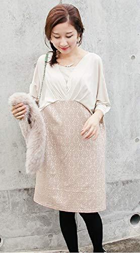 6e7768d3b8e7f ... 授乳服 ワンピース ミ・ランダ ベージュ ジッパー 当て布 お宮参り お呼ばれ フォーマル onepiece ワンピ  ジャガードレースがとてもロマンティックでエレガント。