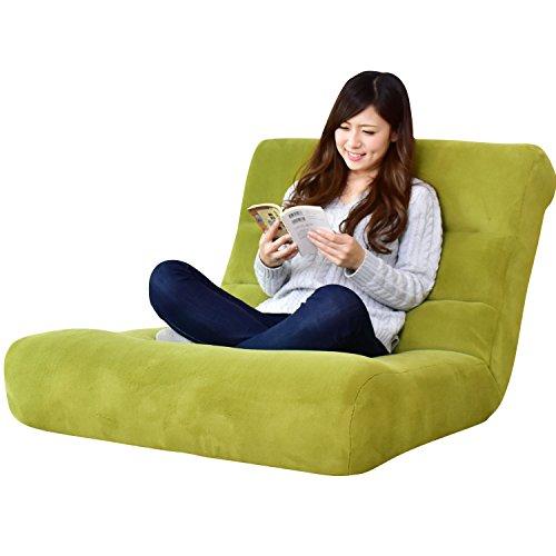 DORIS 座椅子 ワイドサイズ 幅80 ハイバック 42段階 リクライニング ポケットコイル グリーン ヌイ