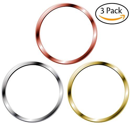 3枚セット iPhoneホームボタンシール 指紋認証機能対応 取付簡単(ホワイト& シルバー、ホワイト& ゴールド、ホワイト& ローズゴールド)
