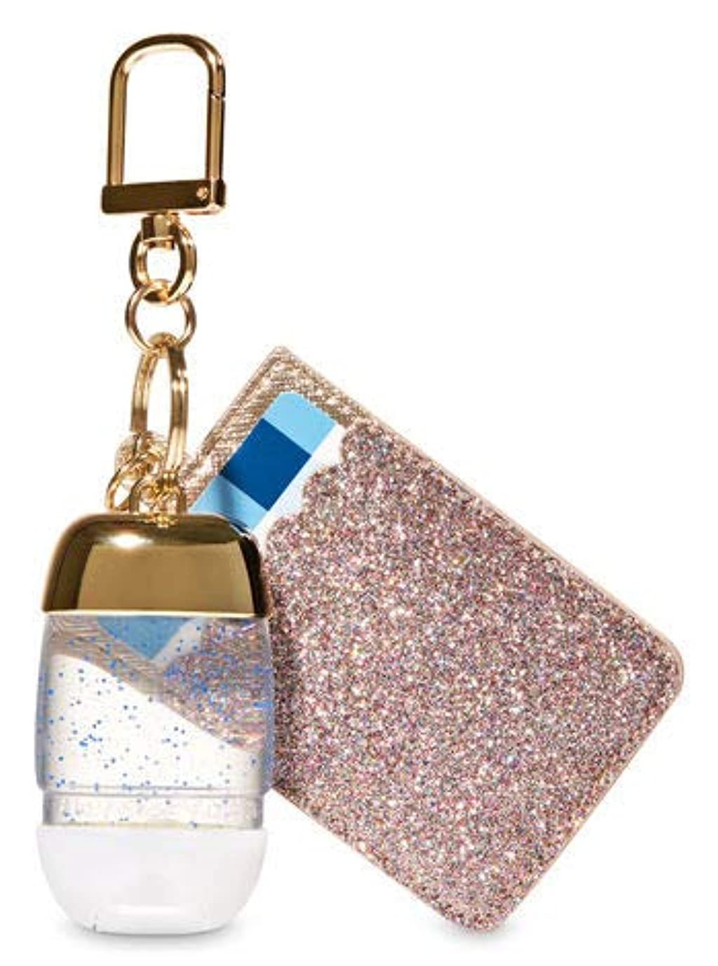 金銭的繁栄期限切れ【Bath&Body Works/バス&ボディワークス】 抗菌ハンドジェルホルダー カードケース グリッターゴールド Credit Card & PocketBac Holder Glitterly Gold [並行輸入品]