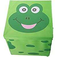 Kid 'sクッションTop Frog Collapsibleおもちゃストレージオーガナイザーby Clever Creations  トイボックス折りたたみストレージオットマンfor Kids寝室  PerfectサイズToy Chest整理ブック、玩具、子供服