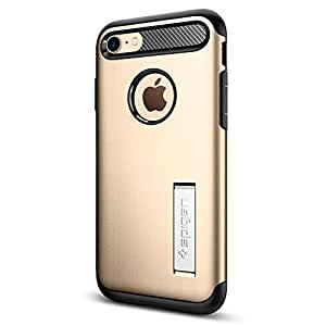 【Spigen】 iPhone7 ケース, スリム・アーマー [ 米軍MIL規格取得 衝撃吸収パターン加工 ] アイフォン 7 用 耐衝撃カバー (iPhone7, シャンパン・ゴールド)
