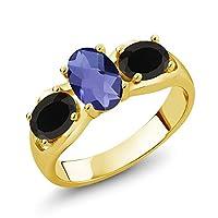 Gem Stone King 1.43カラット 天然 アイオライト (ブルー) 天然 オニキス シルバー925 イエローゴールドコーティング 指輪 リング