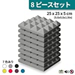 KUSUN 吸音材 防音 ウレタンフォーム ピラミッド型 スポンジ グレー 25cm×25cm 極厚5cm 8枚セット