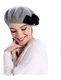 NiBao ウール100% ベレー帽子 レディース ハット 秋冬 防寒 保温 小顔効果 蝶結び 付きで優雅に気高い