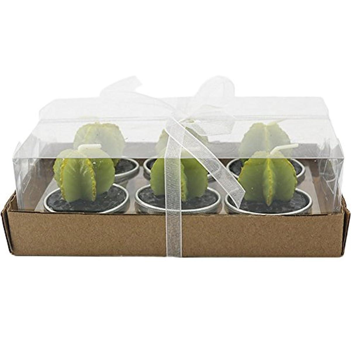 収益爬虫類ジャケットoutflower 6pcs Cactus CandleミニキュートSucculent Candleティーライト誕生日クリエイティブキャンドル装飾キャンドル 4.2x4.2x4cm 305RRSWL2MBQ91715J