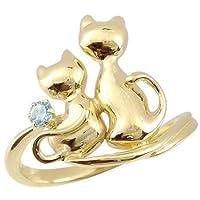 [アトラス] Atrus ネコ の ピンキーリング 選べる宝石 ブルートパーズ ソリティア 一粒の宝石 イエローゴールドK18 K18 18金 指輪 6号 お好きな宝石とアベック猫のかわいいリング ファッションリング